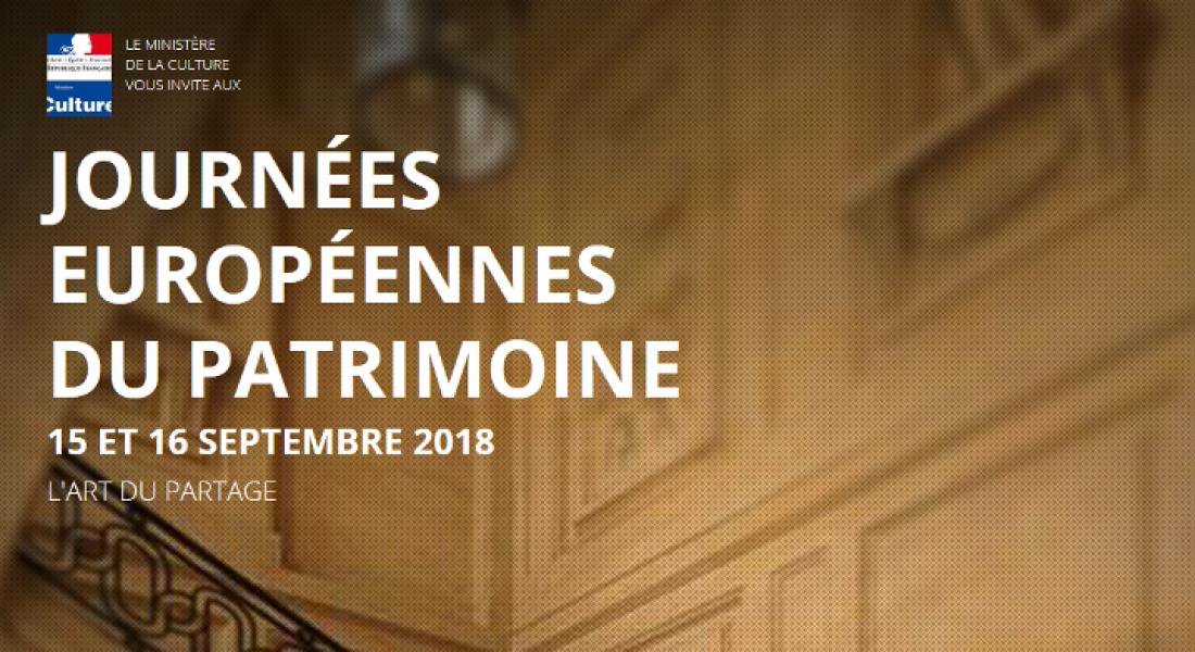 Journées Européennes du Patrimoine – 15 et 16 septembre 2018